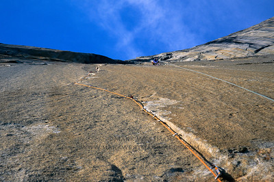 A thin and difficult aid pitch on Pacific Ocean Wall, El Capitan, Yosemite National Park.