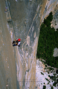 Jumaring on the North America Wall, El Capitan, Yosemite National Park.