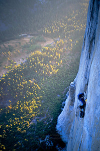 Evening light from high on El Capitan's Pacific Ocean Wall, Yosemite National Park.