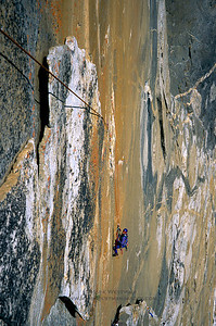 Following the Central Latitudes pitch on Pacific Ocean Wall, El Capitan, Yosemite National Park.