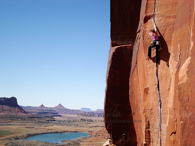 "Climbing ""Scarface"" in Indian Creek, Canyonlands National Park, Utah."