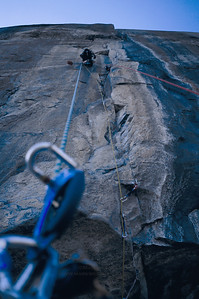 Exciting exposure jugging the free line on the Shield Roof pitch on The Shield, El Capitan, Yosemite National Park.
