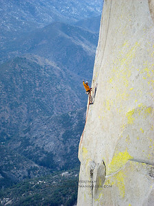 Climber on Atlantis, Sorcerer Needle, Needles, California.