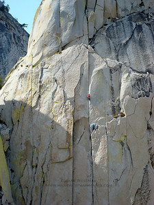 Climbers on Fancy Free, The Needles, California.