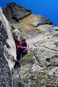 The final pitch of the Burgner/Stanley route on the south face of Prusik Peak, Cascades, Washington.