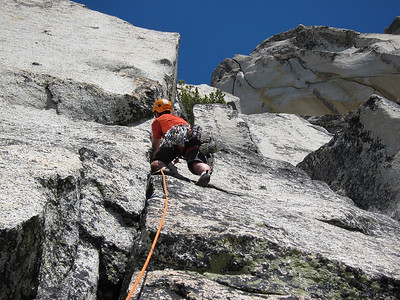 Climbing on Solid Gold, Prusik Peak, Cascade Mountains, Washington.
