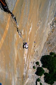 Climbing on Pacific Ocean Wall, El Capitan, Yosemite National Park.
