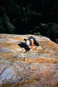 Climbing on the east buttress of Middle Cathedral Rock, Yosemite National Park, California.