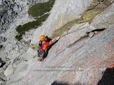 Chad Kellogg on the Cascades classic, Solid Gold, on Prusik Peak in the Cascade Mountains, Washington.