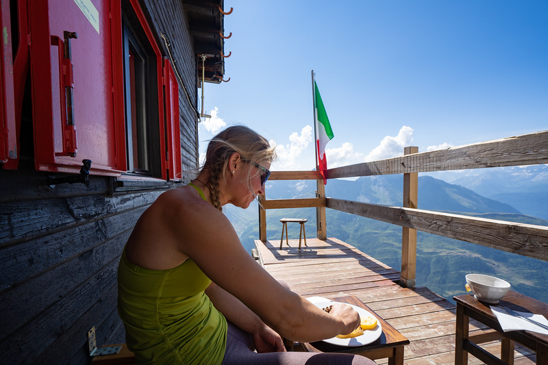 Hazel the next morning enjoying some good food at the Rifugio Boccalatte