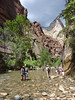 Stephanie and Rusty exiting the Zion Narrows after canyoneering in Mystery Canyon.