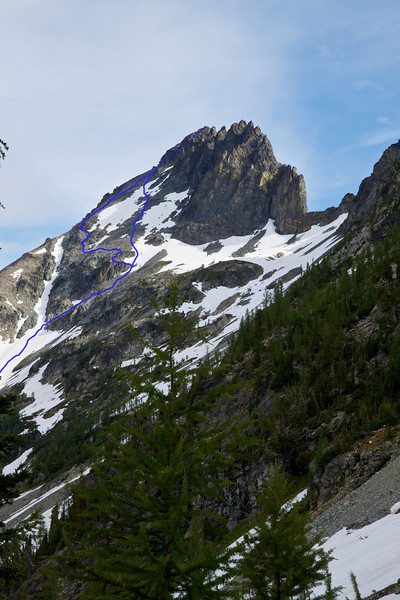 This is Seven Fingered Jack as seen a different angle.  The up-route we took is the more direct line.  Our descent took the other line.  Basically its Class 2 loose, loose crap.  But take your time and its fine.