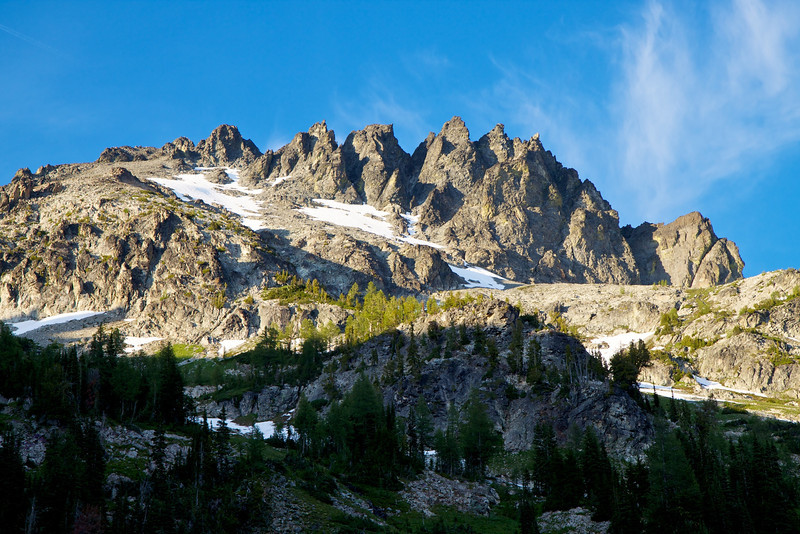 This is Seven Fingered Jack (9100 feet).  The route is a very loose scramble (Class 2), starting at lower-right and ending at upper-left.  It is much steeper than it looks here.  See next photo.
