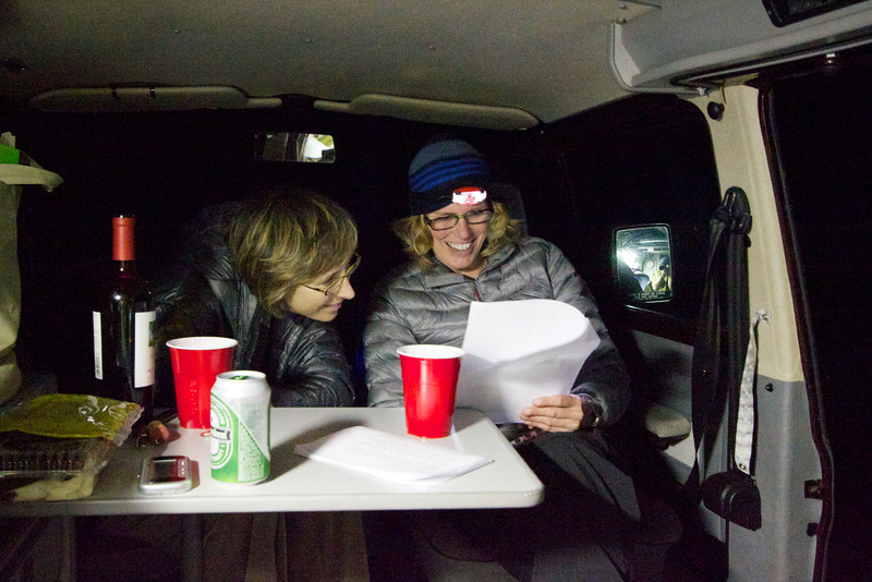 Last-minute planning in the camper van, over some beer and wine.