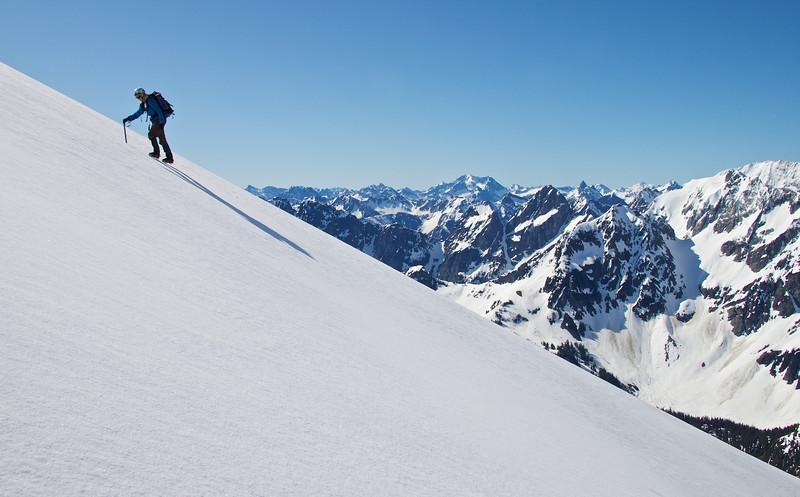 Monique approaches 7000 ft on the Sahale Arm.