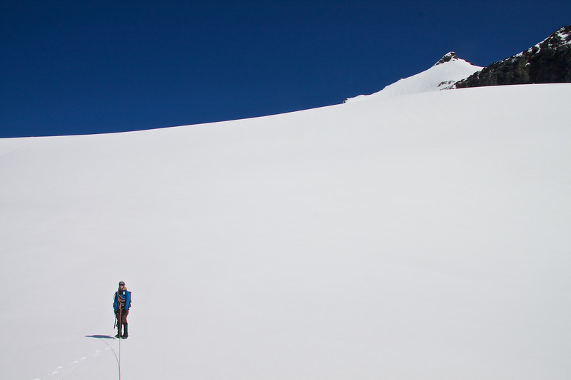 After declining to do Buckner, Monique makes fresh boot tracks up to Sahale.
