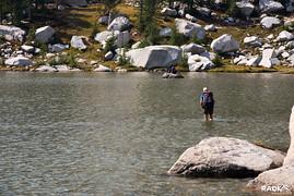 walking across Perfection Lake