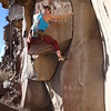 Sarah on Petroglyphs climb at Big Enchilada