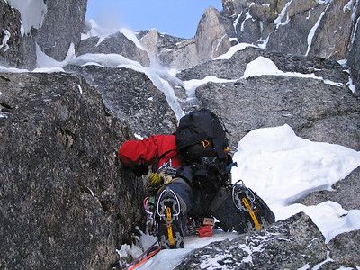 Sean Isaac, first winter ascent of Pigeon Spire, Bugaboos