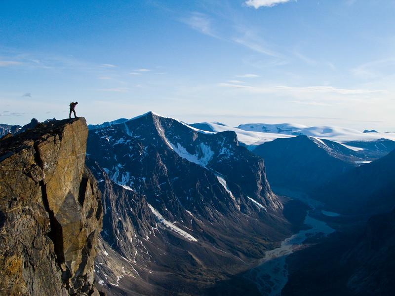 Chris Atkinson on the summit of Thor Peak, Baffin Island 2