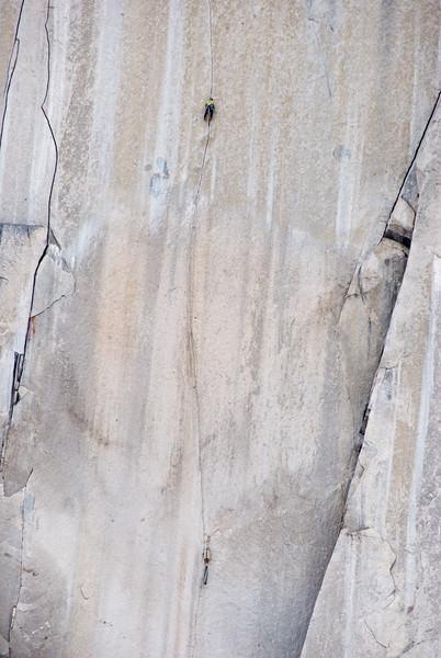 Solo climber on Tom Eagan Memorial route, Snowpatch Spire, Bugaboos