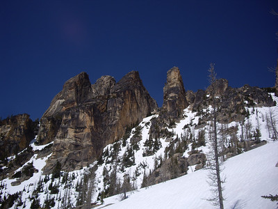 Looking back at the spires on the way down.