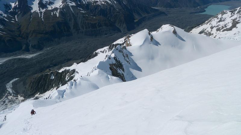 On the E ridge, Grand Plateau below.