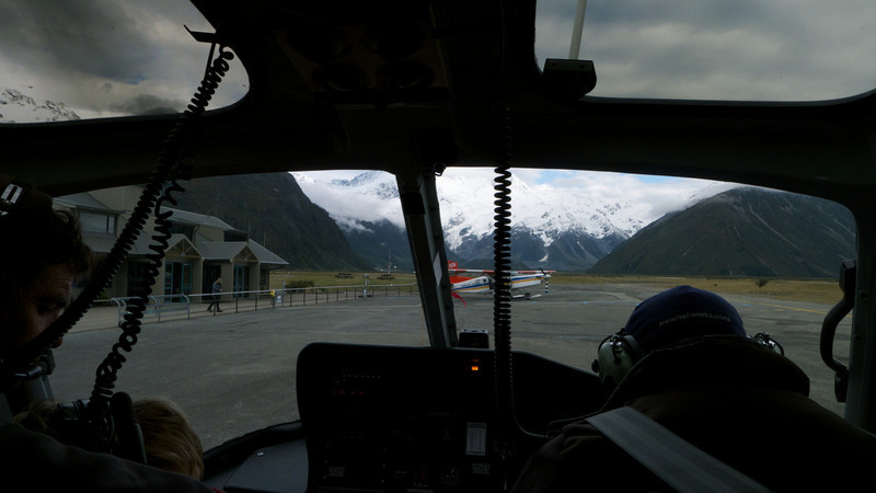 In the heli at Mt Cook village as the good weather came on.
