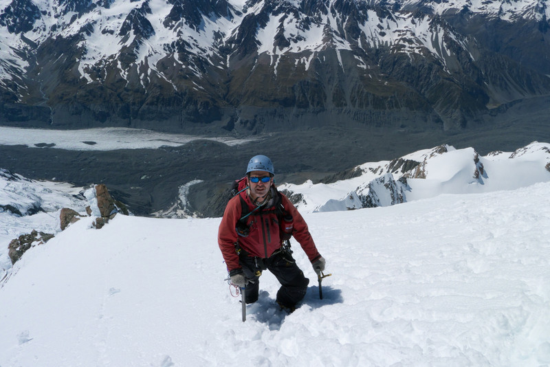 Stu climbing the E ridge of Mt Dixon