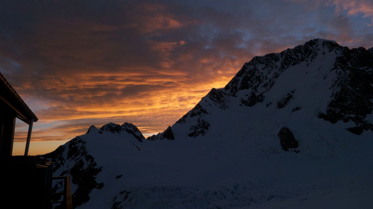 ANZAC Peaks and East Ridge of Aoraki Mt Cook at 9pm
