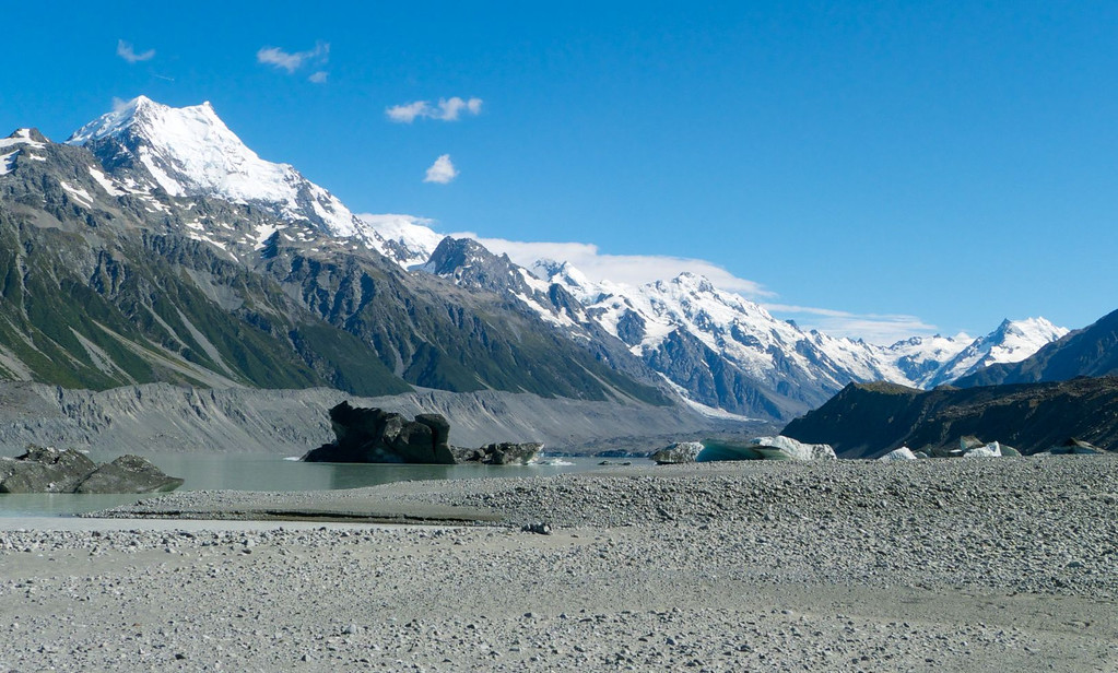 Icebergs in the glacier lake with Aoraki/Mt Cook prominent in the background