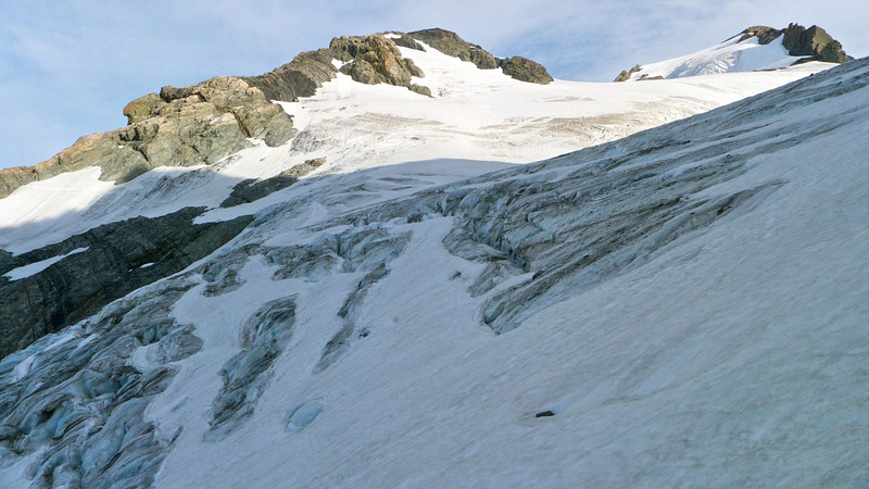Old ice and crevasses showing through the glacier