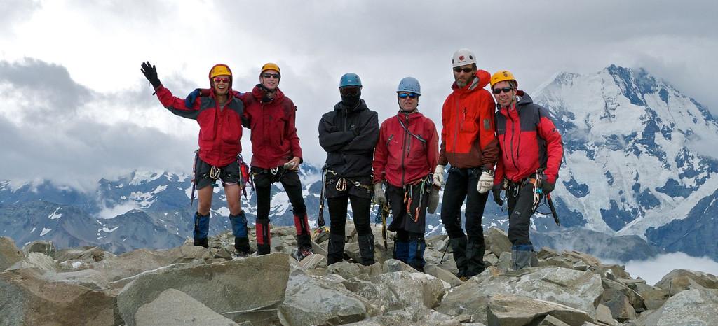 The Nun's Veil (2749m) 10.20am on January 12 2012: Daniel Rogerson, Sean Buchanan, Patrick 'Stig' Arnold, Stu Hutson, Piers Harris and David Grainger