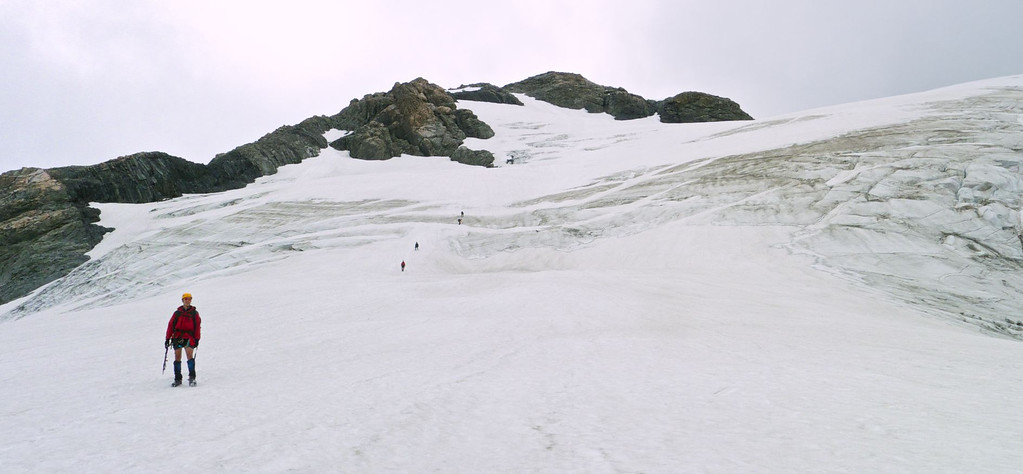 Descending the Nun's Veil Glacier at midday in gloomy conditions