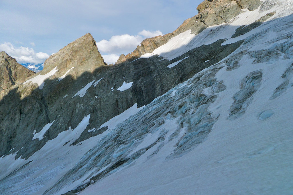 Looking across the glacier which slides off the Nun's Veil.  It is bounded both side by interesting ridges with very steep terrain beyond those.