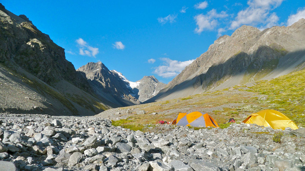 Our camp was the highest flat vegetated place in the valley, and came with running fresh water and dry stone walls to shelter our tents and stoves.