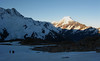 Sun setting on Aoraki Mt Cook as seen from Mueller Hut