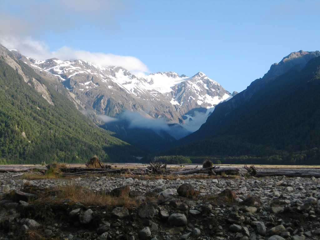 On the other side of the Waimak, the Crow River valley leading to Mt Rolleston.