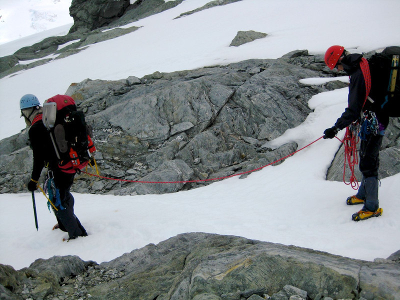 Roped up for the descent to the Bonar Glacier.