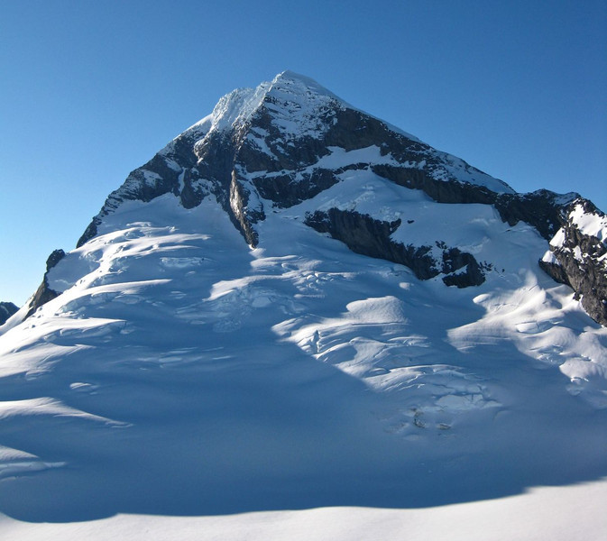 Looking back to Mt Aspiring.  North Buttress rising centrally and North-West Ridge on the right.