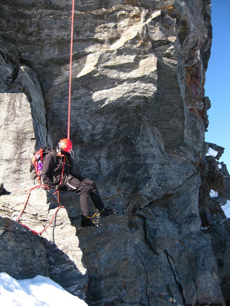We abseil off the far end of the Pin to complete a nice traverse before descending back to the hut for lunch.