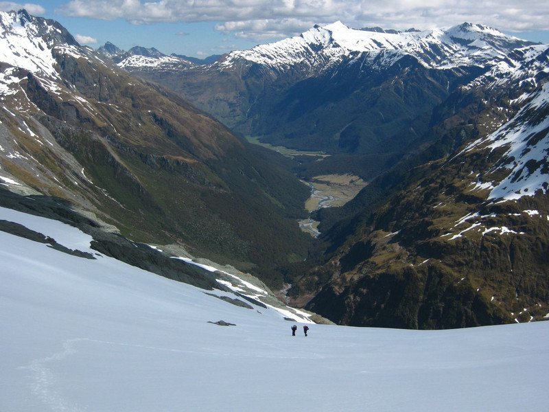 Looking back down the Matukituki valley to Aspiring Hut where we started this morning.