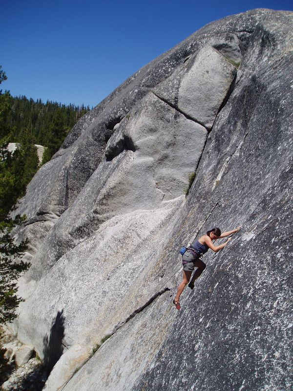 DAFF Dome - Tricia toproping a slab on the west side.