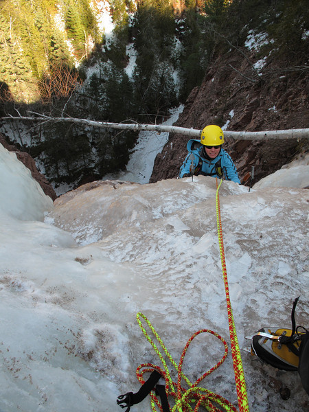 North Shore, MN<br /> Devil's Track River<br /> Nightfall ice climb<br /> Kejal finishing second pitch