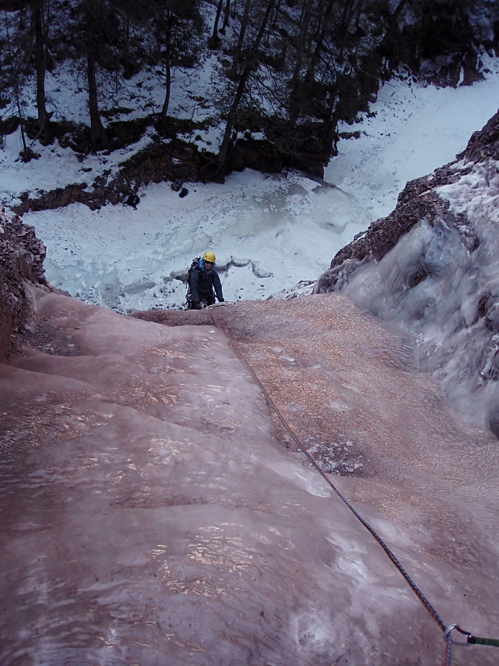 North Shore, MN<br /> Devil's Track River<br /> Nightfall ice climb