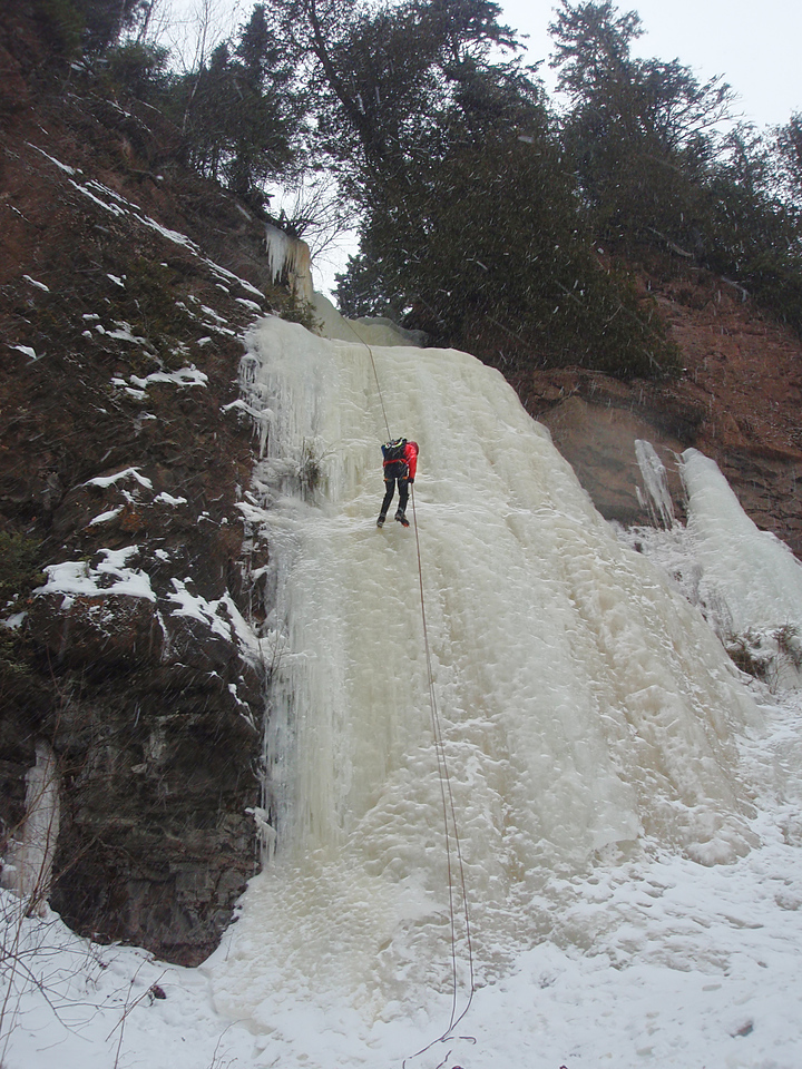 North Shore, MN<br /> Cascade ice climb<br /> Orhun on rap