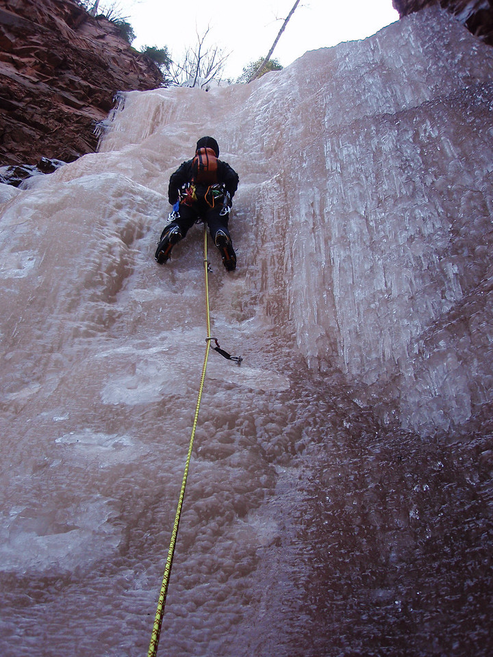 North Shore, MN<br /> Devil's Track River<br /> Nightfall ice climb<br /> Orhun on 2nd pitch