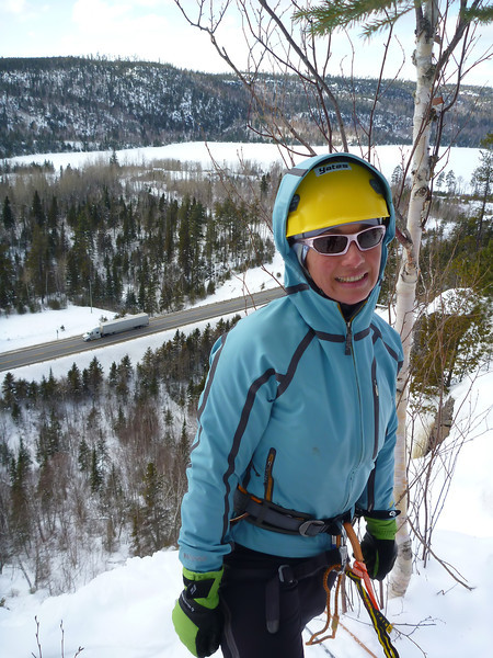Orient Bay, Ontario<br /> Tempest ice climb<br /> Kejal ready for rap