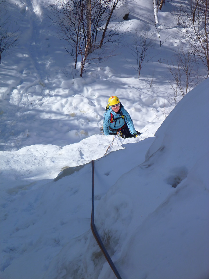 Orient Bay, Ontario<br /> Tempest ice climb<br /> Kejal following first pitch
