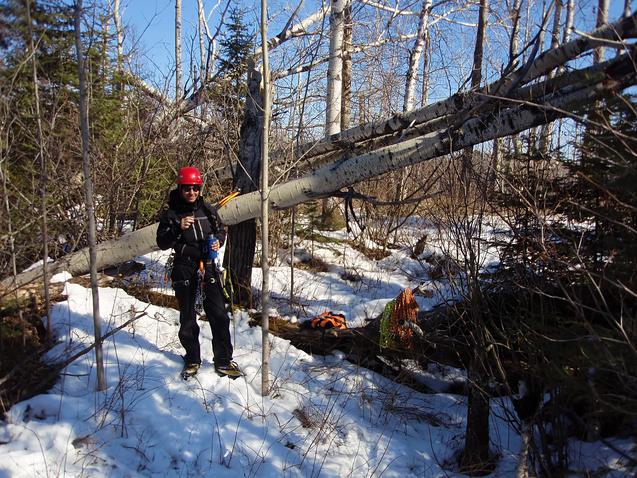 North Shore, MN<br /> Devil's Track River<br /> Nightfall ice climb<br /> Boreal forest on top